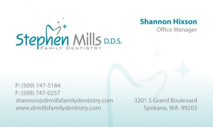 Business Card Design: Stephen Mills Family Dentistry