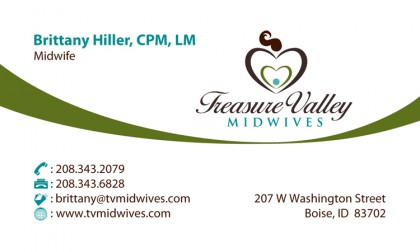 Business Card Design: Treasure Valley Midwives