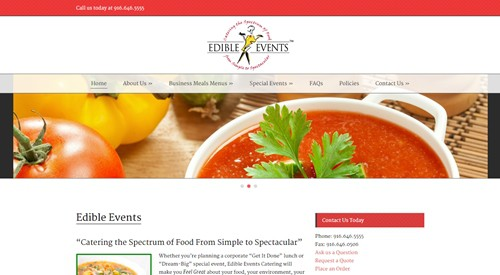 Website Makeover-Edible Events-Home
